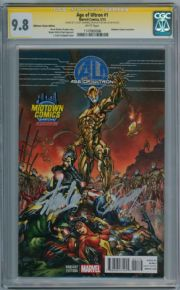 Age Of Ultron #1 Midtown Variant CGC 9.8 Signature Series Signed Stan Lee & J. Scott Campbell Marvel comic book